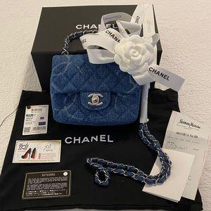 NEW Chanel 20B Denim Mini Crossbody Classic Flap